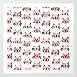 Cute cat pattern Art Print