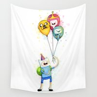 bmo Wall Tapestries featuring Finn with Birthday Balloons Jake Princess Bubblegum BMO by Olechka