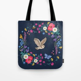 Owl and Wildflowers Tote Bag