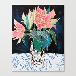 Swan Vase with Pink Lily Flower Bouquet on Dark Blue and Black Winter Floral Canvas Print