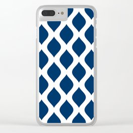 Dark blue and white curved lines pattern Clear iPhone Case