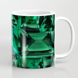 CLUSTERED FACETED EMERALD GREEN MAY GEMSTONES Coffee Mug