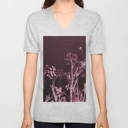 Elegant Burgundy Botanical Floral Unisex V-Neck