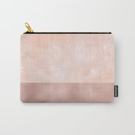 Rose-Gold Metallic and White Rose Marble Carry-All Pouch