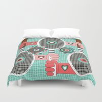 tennis Duvet Covers featuring Tennis anyone? by Amy Gale