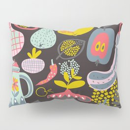 Seamless vector pattern with fruits and vegetables. Colorful background with organic food. Pillow Sham