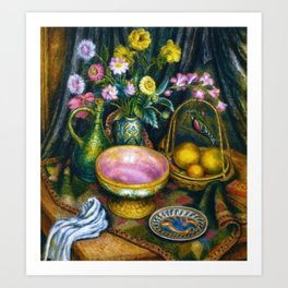 Still Life with Calla Lily, Zinnia, Flowers, Bird, Fruit, & Candy Bowl by Edward Middleton Manigault Art Print