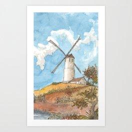 Windmill Against a Blue Sky Art Print