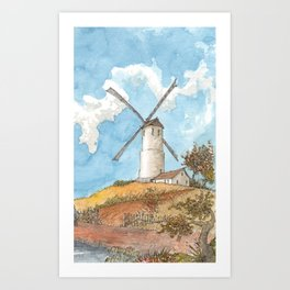 Windmill Against a Blue Sky Art Print