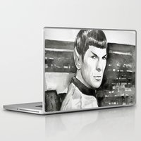 spock Laptop & iPad Skins featuring Spock by Olechka