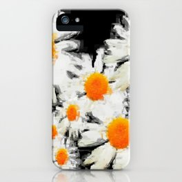 high contrast daisies pastel drawing iPhone Case