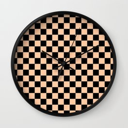 Black and Deep Peach Orange Checkerboard Wall Clock