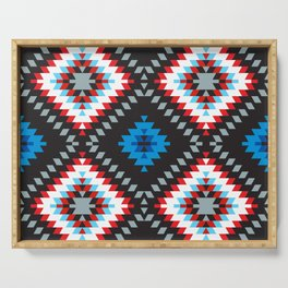 Colorful patchwork mosaic oriental kilim rug with traditional folk geometric ornament. Tribal style Serving Tray