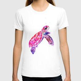 Purple Turtle Bright Pink, purple blue turtle illustration T-shirt