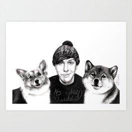 Phil w/ dogs Art Print