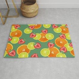 Strawberry Lemon orange slices fruit pattern #fruits  Rug
