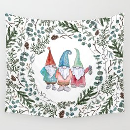 Christmas Gnome Greenery Circle Wall Tapestry