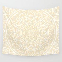Pale Yellow Simple Simplistic Mandala Design Ethnic Tribal Pattern Wall Tapestry