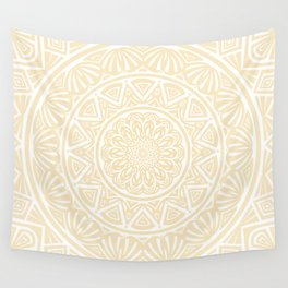 Pale Yellow Simple Simplistic Mandala Design Ethnic Tribal Pattern Wall Tapestry