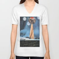 voyage V-neck T-shirts featuring VOYAGE by cedar q waxwing
