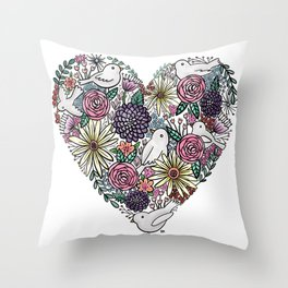 Flowers, Birds & A Heart Throw Pillow