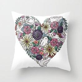 Flowers, Birds & A Heart Throw Pillow