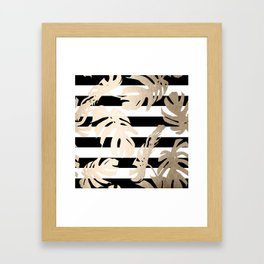 Simply Tropical Palm Leaves on Stripes Framed Art Print