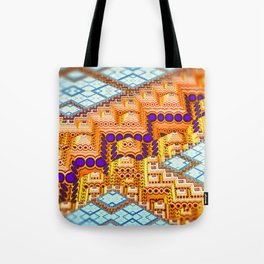 infrastructure III. Blue and Orange Abstract Tote Bag