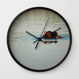 Cute Hippo Bathing Wall Clock