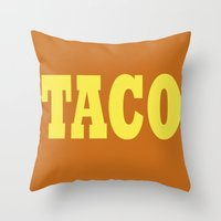 taco Throw Pillows featuring Taco by Book Ink Boutique