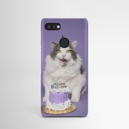 Happy Birthday Fat Cat In Party Hat With Cake Android Case