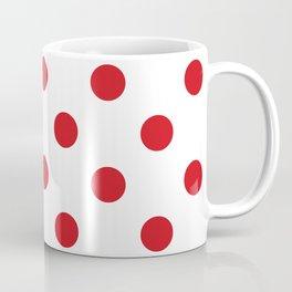 Polka Dots - Fire Engine Red on White Coffee Mug