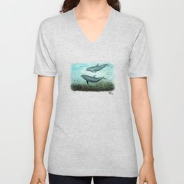 """""""Two Inshore Dolphins"""" by Amber Marine ~ Watercolor Painting, (Copyright 2015) Unisex V-Neck"""