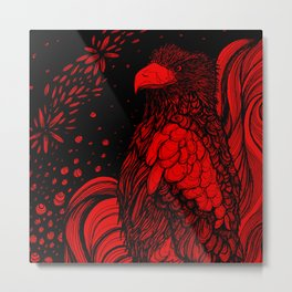 Steller's Sea Eagle (Black on Red Variant) Metal Print