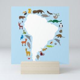 South America sloth anteater toucan lama armadillo manatee monkey dolphin Maned wolf raccoon jaguar Mini Art Print