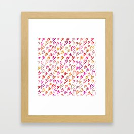 Colourful hearts seamless pattern Framed Art Print