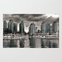 vancouver Area & Throw Rugs featuring Vancouver Waterfront by Anthony M. Davis