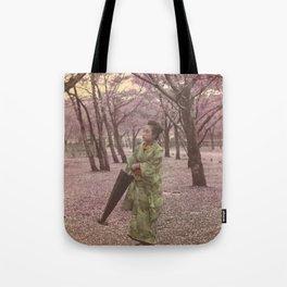 Geisha among Cherry Blossom trees Tote Bag
