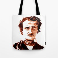 edgar allen poe Tote Bags featuring Poe by Doug Slack