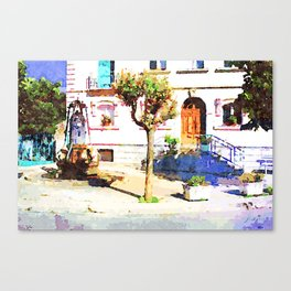 Borrello: square with water well Canvas Print