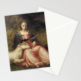 Vintage Girl With Unicorn Illustration Stationery Cards