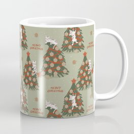 Meowy Christmas, Cats on Xmas Decorated Trees, Vintage Colors, Hand-painted Festive Winter Holiday Fun Cat Pattern Coffee Mug