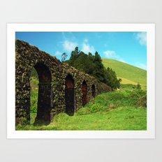 Aqueduct and pastures Art Print