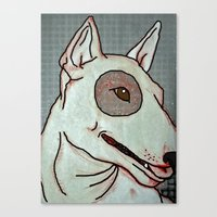 bull terrier Canvas Prints featuring Bull Terrier by Just Bailey Designs .com