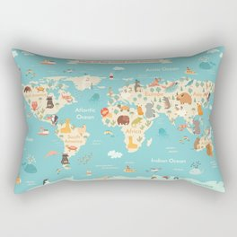 Animals world map for kid Rectangular Pillow