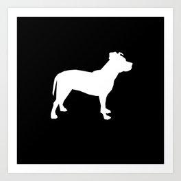 Pitbull silhouette black and white minimal modern dog breed art pillow square Art Print