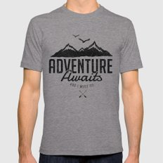ADVENTURE AWAITS Tri-Grey Mens Fitted Tee LARGE