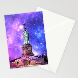 space Statue of Liberty Stationery Cards