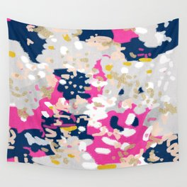 Michel - Abstract, girly, trendy art with pink, navy, blush, mustard for cell phones, dorm decor etc Wall Tapestry