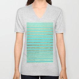 Modern geometric turquoise chic gold striped pattern  Unisex V-Neck